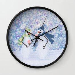 snowmen eating ice cream Wall Clock