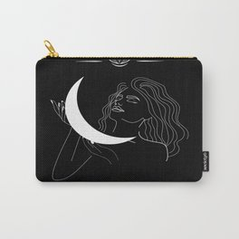 Modern minimalist female line drawing, woman holding crescent, mythology and mystical illustration Carry-All Pouch