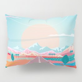 Summer Road trip to Rocky Mountains Adventures in Nature, car blue sky land airplane rural landscape Pillow Sham