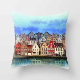 House, Bruges, Belgium Throw Pillow