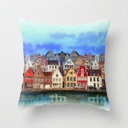 House, Bruges, Belgium Throw Pillow