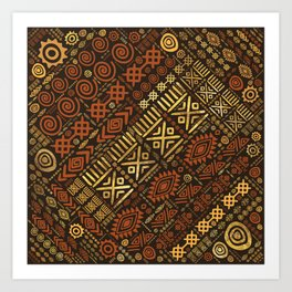Ethnic African Pattern- browns and golds #5 Art Print