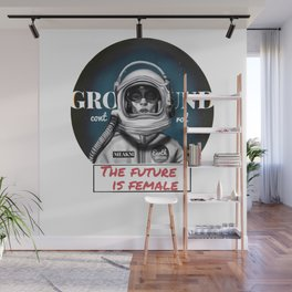 The Future is female space astronaut girl Wall Mural