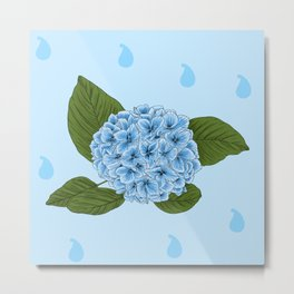 Blue Vintage Floral Illustration Of Hydrangea Flowers And Tear Drops Metal Print