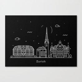 Zurich Minimal Nightscape / Skyline Drawing Canvas Print