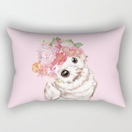 Snowy Owl with Flowers Crown Rectangular Pillow