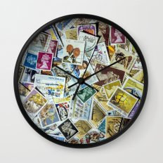 Postage Stamps Wall Clock