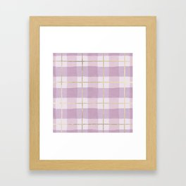 Girly pink lavender gold watercolor plaid pattern Framed Art Print