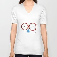 glasses V-neck T-shirts featuring Glasses by Phil McAndrew