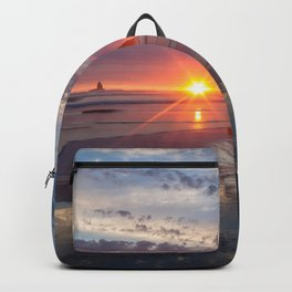 Picture USA Haystack Rock Cannon Beach Sea Sun Nature Sky Sunrises and sunsets Water sunrise and sunset Backpack