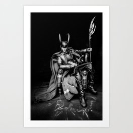King Loki, Chillaxin' (B/W) Art Print