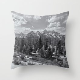 Grand Tetons from Schwabacher Road bw Throw Pillow