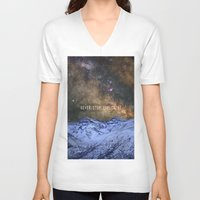 never stop exploring V-neck T-shirts featuring Never stop exploring mountains, space..... by Guido Montañés