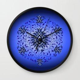 antique blue hue toile Wall Clock