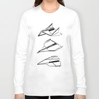 planes Long Sleeve T-shirts featuring Paper Planes by Katy Shorttle