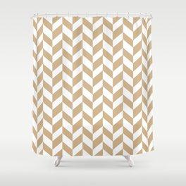 HERRINGBONE (TAN & WHITE) Shower Curtain