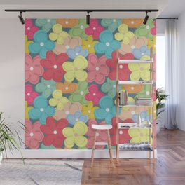 Colorful Flowers Pattern Wall Mural
