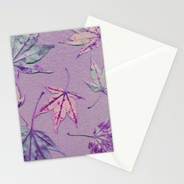 Japanese maple leaves - cerise and pistachio green on light purple Stationery Cards