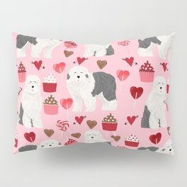 Old English Sheepdog valentines day hearts cupcakes pattern pet portrait dog art gifts love Pillow Sham