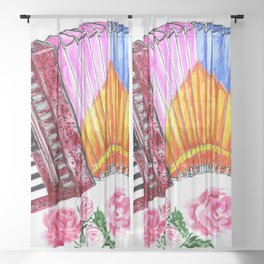 Accordion with pink roses Sheer Curtain