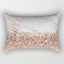 Warm chromatic - rose gold marble Rectangular Pillow