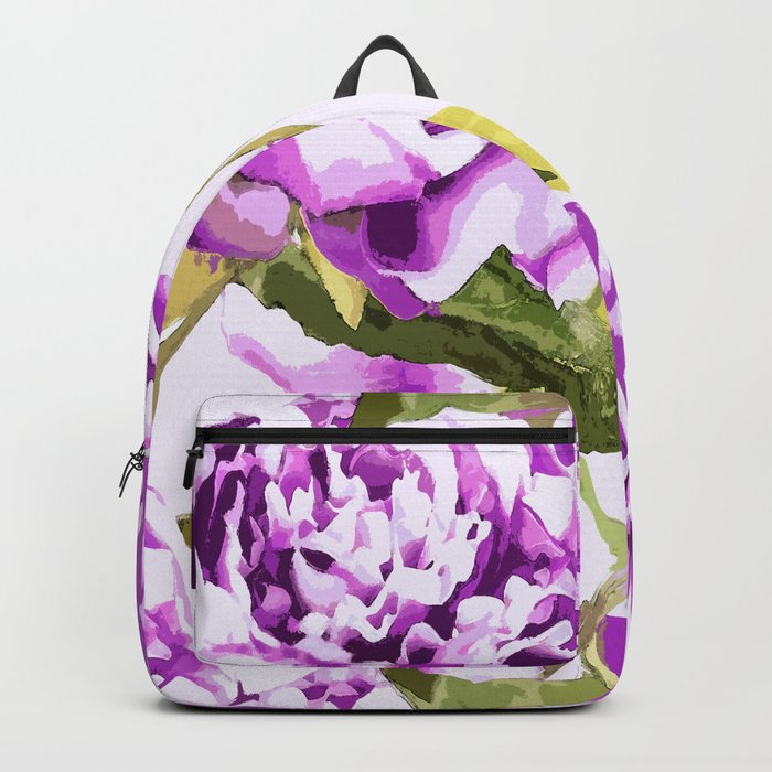 Peonies on a white background - #Society6 #buyart Backpack