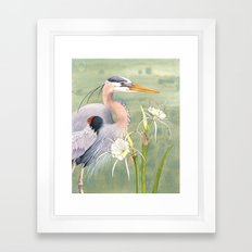 Great Blue Heron and Spider Lilies Framed Art Print