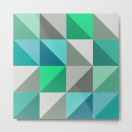 Triangles in turquoise Metal Print