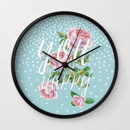 You are my happy- Roses Rose Flowers Polka dots - Vintage Design Wall Clock
