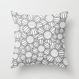 Field of daisies - gray Throw Pillow