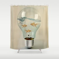 goldfish Shower Curtains featuring ideas and goldfish 03 by Vin Zzep