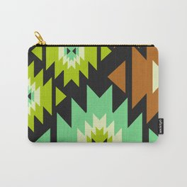 Ethnic shapes in green and brown Carry-All Pouch