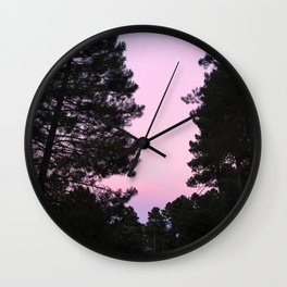 Pink sunrise. Into the woods. Wall Clock