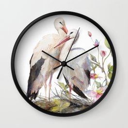 Stork Nest in Spring, Nature, Clematis, Botanicals, Blossoms Wall Clock