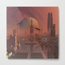 Futuristic City with Space Ships Metal Print