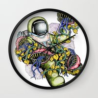 spaceman Wall Clocks featuring SPACEMAN by • PASXALY •