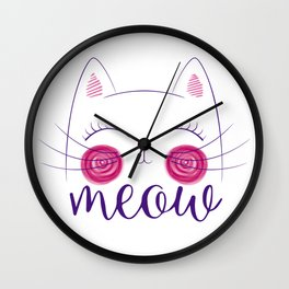 Meow Cute Cat Face. Funny Costume product for Cat Lovers Wall Clock