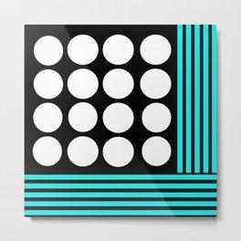 Desing pattern black and white followed by Tuerkies Metal Print
