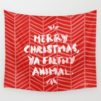 alcohol Wall Tapestries featuring Merry Christmas, Ya Filthy Animal – Red by Cat Coquillette