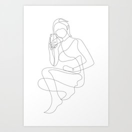 Girl and Her Smartphone Art Print