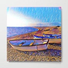 Chesil Beach Boats Metal Print