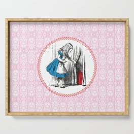 Alice in Wonderland | Alice finds Key and the Door to Wonderland | Pink Damask Pattern | Serving Tray