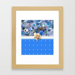 Healing Blue Seashells Sea Life Framed Art Print