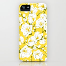 White freesia on a yellow background iPhone Case