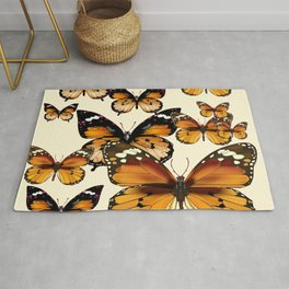 COFFEE & CREAM COLORED BROWN BUTTERFLIES Rug