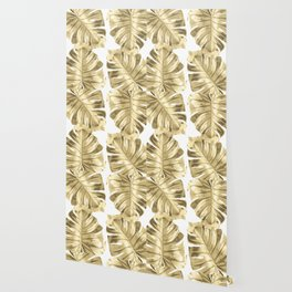 Gold Monstera Leaves on White Wallpaper