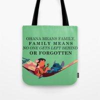 ohana Tote Bags featuring Ohana by Dani Aviles