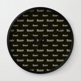 Beauty Moments Phrase Pattern Design Wall Clock