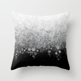 Snowfall on Black Throw Pillow
