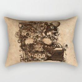 Vintage Steampunk Skull Brown Metal Gears Texture Rectangular Pillow